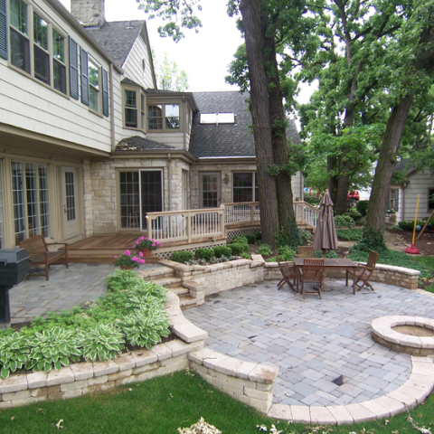 Heart Shaped Stone Patio with Firepit