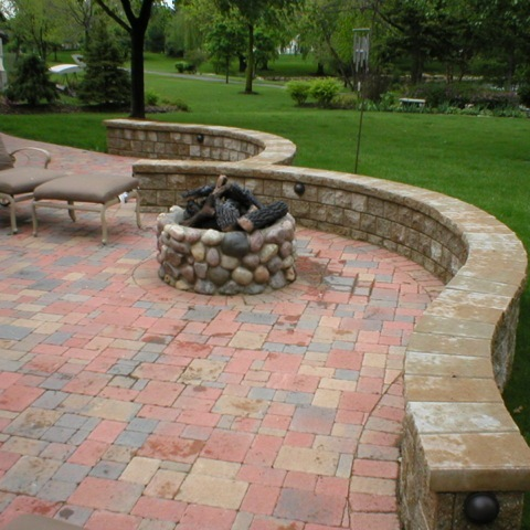 Firepit with Glass Logs, Stone and Morter