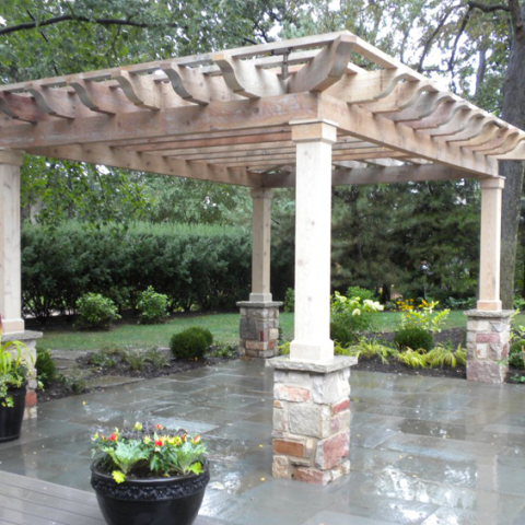 Four Sided Arbor with Stone Base