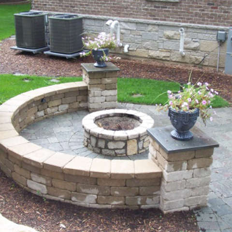 Circular Patio with Firepit Enclosure