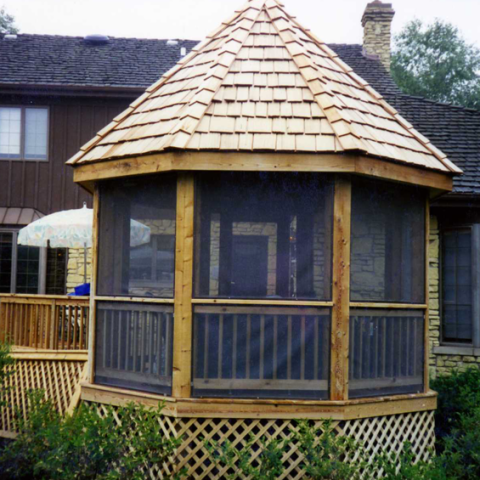 Screened-in Gazebo and Custom Deck