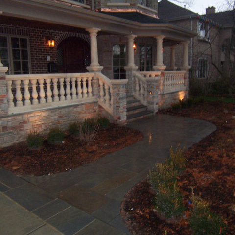 Dark Stone Walkway and Porch