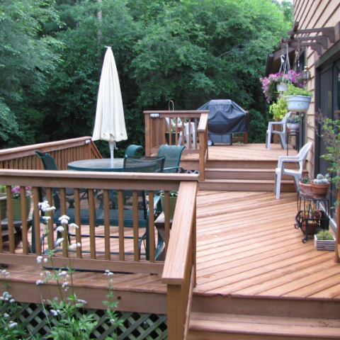 Cedar Stained Deck and Railings