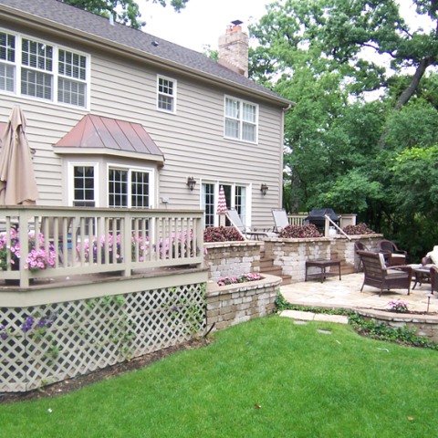 Deck, Stone Patio and Planters