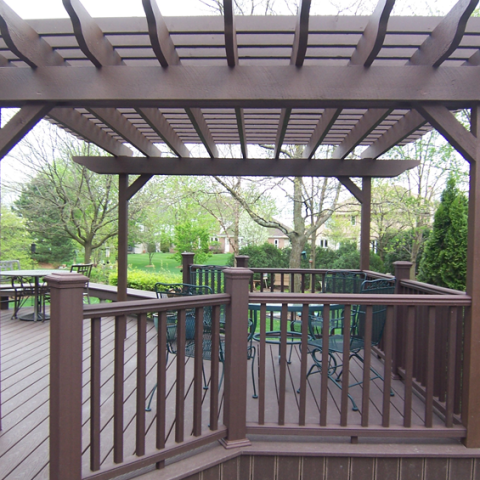 Trex Brown Stained Cedar Arbor and Deck