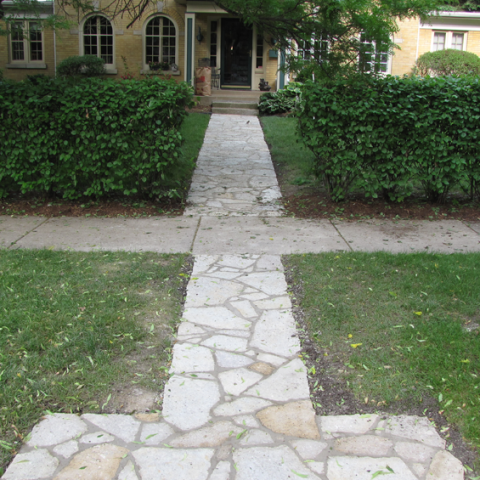 Flagstone and Morter Front Entrance Walkway