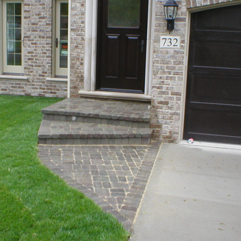 Stone Front Entryway Steps and Sidewalk