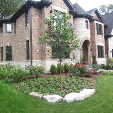 Stone Landscaping and Stone Front Walkway