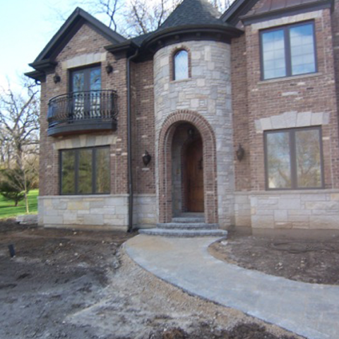 New Construction Stone Walk and Entryway