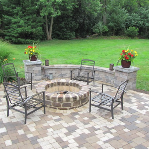 Checker Pattern Patio and Fireplace