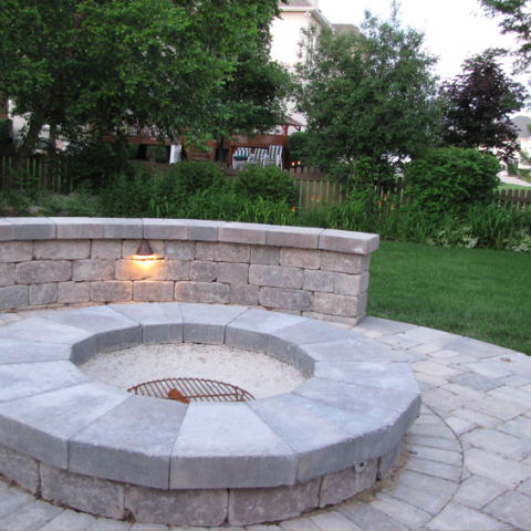 Firepit with Stone Enclosure – Outdoor Lighting