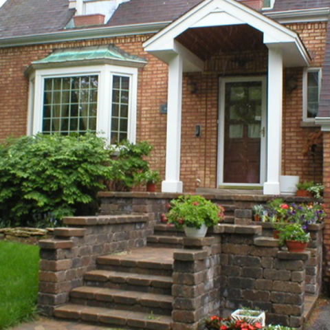 Stone Front Entry Porch