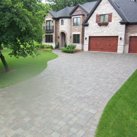 Stone Driveway and Front Entry