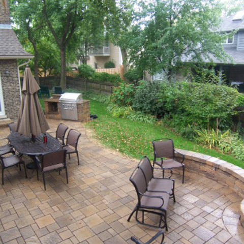 Oblong Patio with Offset Firepit