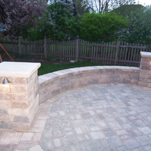 2-Pillar Stone Patio with Sitting Wall