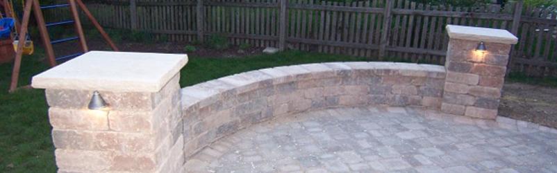 Charmant 2 Pillar Stone Patio With Lighting