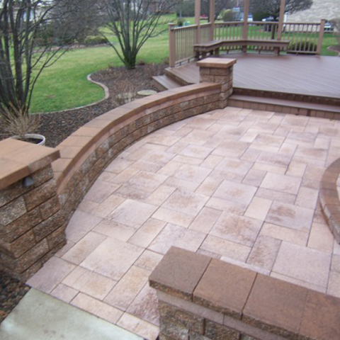 Stone Tile Patio with Fiberon Deck