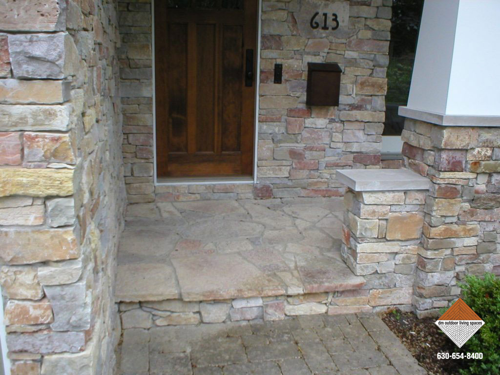 Front entries stone walkways d m outdoor living spaces for Stone porch designs