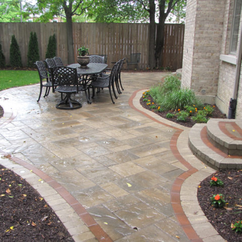 Multi-patterned stone patio