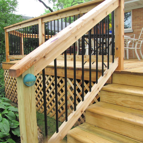 Deck Railing with step lighting