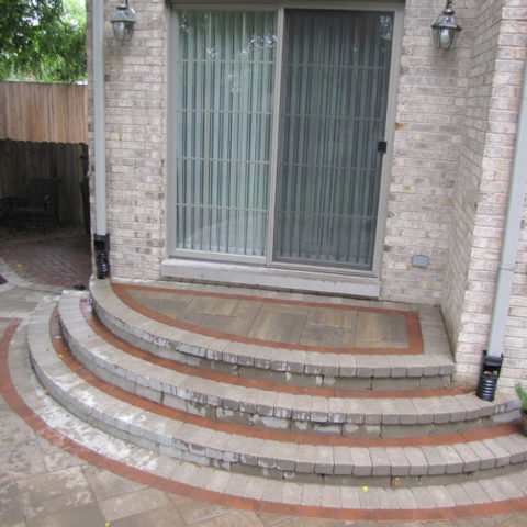 Front entry patio stone steps