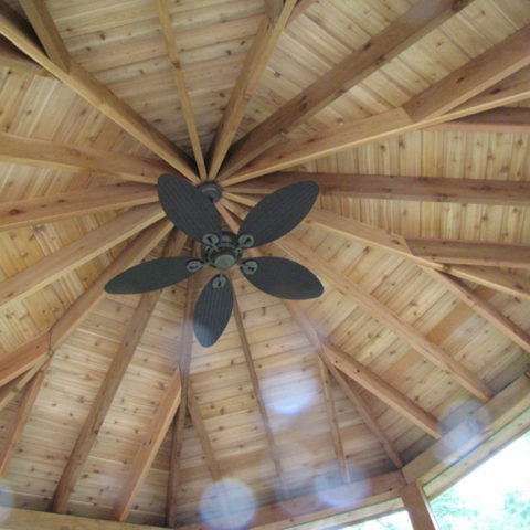 Screened-in Gazebo with Ceiling Fan for added comfort