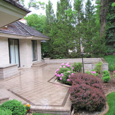 Square stone patio