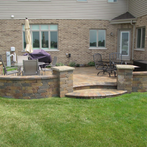 Stone circle patio