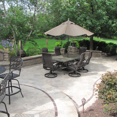 Multi-level stone patio