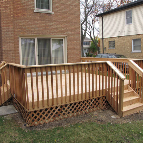 Wood patio with (2) step entry ways