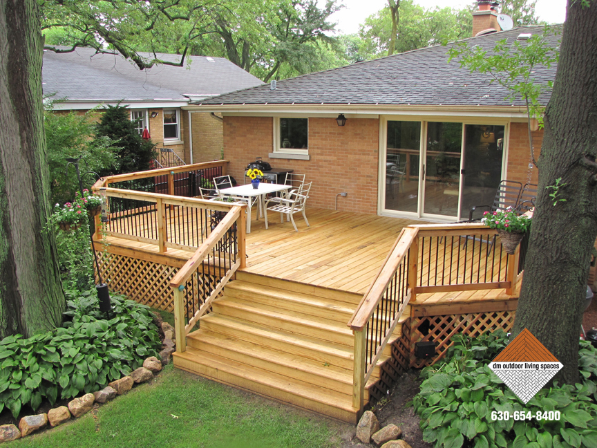 Wood Deck With Landscaping Maintenance Dm Outdoor Living Spaces
