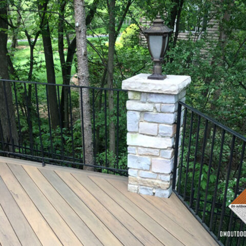 Composite Decking with Stone Pillar