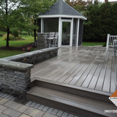Composite Deck and Black Stone Coping