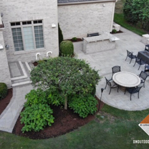 Natural Stone Patio and Outdoor Grill Station