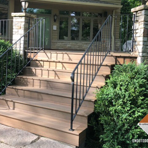Composite Steps and Black Railings
