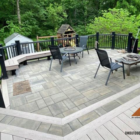 Stone Patio and Composite Deck Combination