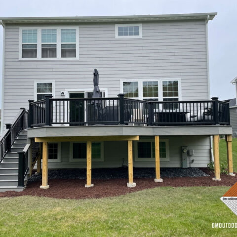 Black Railing and Grey Composite Decking