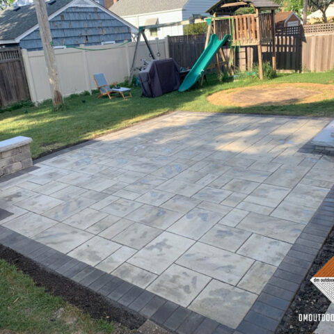 Natural Stone Paver Patio, Stoop and Sitting Wall